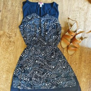 LOFT Midi Floral Navy Blue Dress